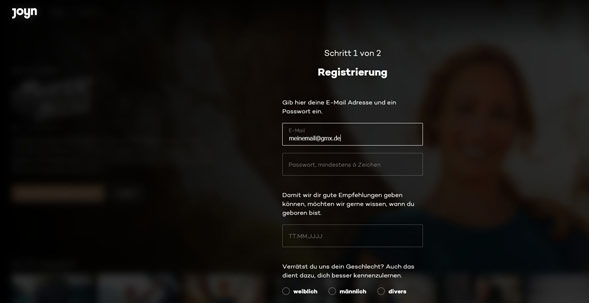 Registrieren bei Joyn Screenshot
