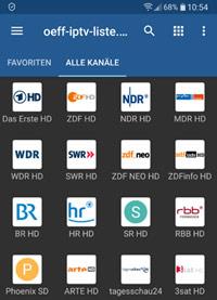 Sender in IPTV App